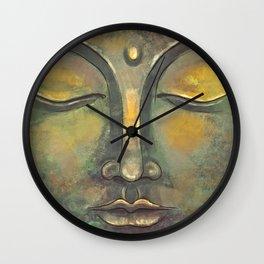 Rusty Golden Buddha Face - Zen and Balance Watercolor Painting Wall Clock