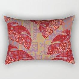 Hawaiian Lava Leaves Tapa Print Rectangular Pillow