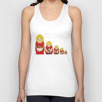 50s Tank Tops featuring 50s Housewife Russian Doll by Yana Elkassova