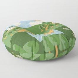 Landscape composition with picnic basket and badminton set Floor Pillow