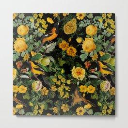Vintage & Shabby Chic - Night Botanical Bird and Flower Garden Metal Print
