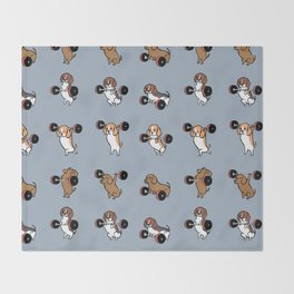 Olympic Lifting Beagles Throw Blanket