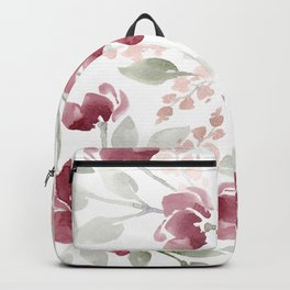 Burgundy Watercolor Floral Backpack