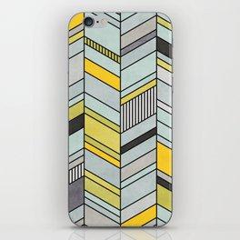 Colorful Concrete Chevron Pattern - Yellow, Blue, Grey iPhone Skin