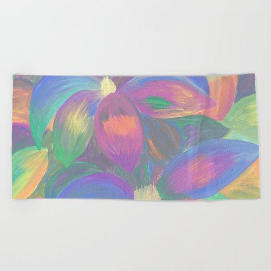 Neon Flower Pattern Beach Towel