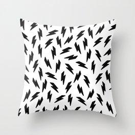 Black and white thunderbolt Throw Pillow