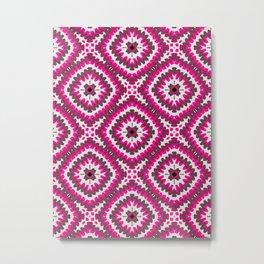 Pink Bohemian Zigzags Metal Print