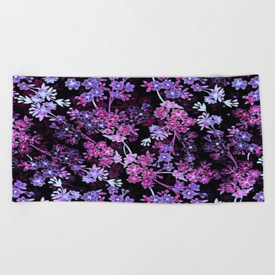 Pink & Purple Floral Pattern Beach Towel