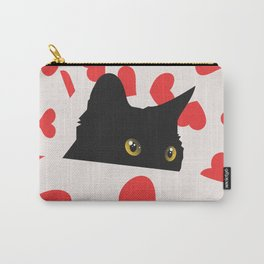 Black Cat Hiding in Hearts Carry-All Pouch
