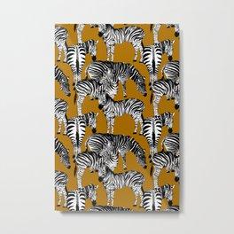 Zebra animals pattern,mustard background  Metal Print