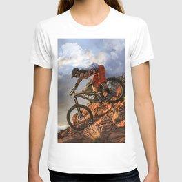 Mountain Bike in Rugged Mountain Terrain in Sunbeams T-shirt
