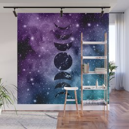 Purple Teal Galaxy Nebula Dream Moon Phases #1 #decor #art #society6 Wall Mural