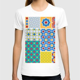 Moroccan pattern, Morocco. Patchwork mosaic with traditional folk geometric ornament. Tribal orienta T-shirt