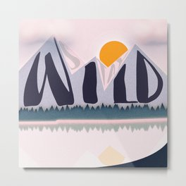 Stay Wild Pink Pastel Mountain Lake Digital Illustration Metal Print