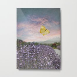 Lavender, Pink Sunset, and Yellow Butterfly Metal Print