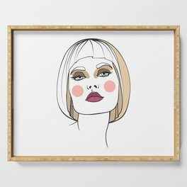 Blonde woman with makeup. Abstract face. Fashion illustration Serving Tray
