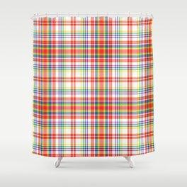 Rainbow Plaid Tartan Textured Pattern Shower Curtain
