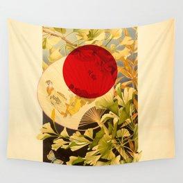 Japanese Ginkgo Hand Fan Vintage Illustration Wall Tapestry