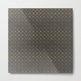 Metal - Checker plate gold reflections Metal Print