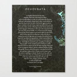 Desiderata Poem on Black Chalk Board Damask with Blue Hummingbird Canvas Print