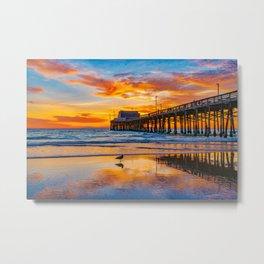 Low Tide Sunset Seagull at Newport Pier   Metal Print