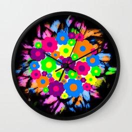 Retro Flower Puff Balls Wall Clock