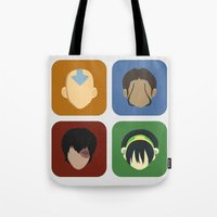 aang Tote Bags featuring Avatar by Raquel Segal