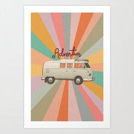 Camper Adventure 70s Art Art Print