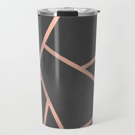 Dark Grey and Rose Gold Textured Fragments - Geometric Design Travel Mug