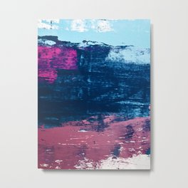 Early Bird [2]: A vibrant minimal abstract piece in blues and pink by Alyssa Hamilton Art Metal Print