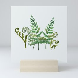 Fern Collage with Light Blue Gray Background Mini Art Print