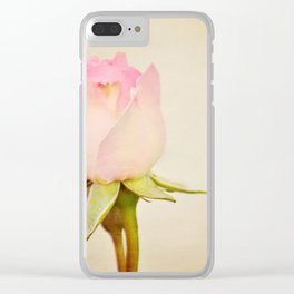 Single baby pink rose. Clear iPhone Case