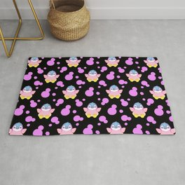 Cute sweet lovely little baby penguins flapping wings, bold pink retro dots black nursery pattern Rug