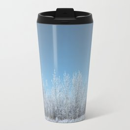 A Line of Frosted Trees Travel Mug