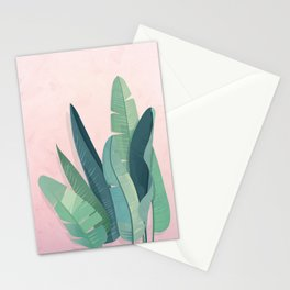 Tropical plants on pink background Stationery Cards