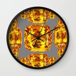 NOVEMBER GOLDEN TOPAZ FACETED GEMS GREY ART Wall Clock