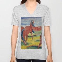 "Franz Marc ""Grazing Horses"" (III) Unisex V-Neck"