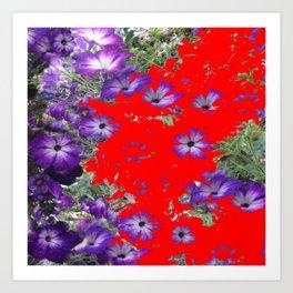 RED ABSTRACT OF  PURPLE PETUNIAS ART Art Print