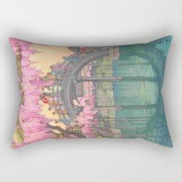 Yoshida Kameidô Japanese Woodblock Print Vintage Asian Art Wisteria Garden Bridge Rectangular Pillow