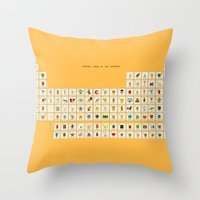 periodic table Throw Pillows featuring Periodic table of the elements by AnneKarine