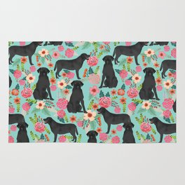 Labrador Retriever black lab floral dog breed gifts pet patterns florals black labs Rug