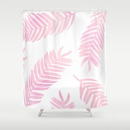 Pink Palm Leaves  |  White Background Shower Curtain