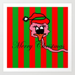 Christmas Pink Duck | The Duck that he thought it was swans Art Print