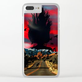 Woman in the sky Clear iPhone Case
