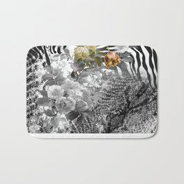 Flowers with Black and White Bath Mat
