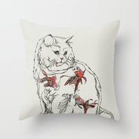 huebucket Throw Pillows featuring Fish Tank by Huebucket