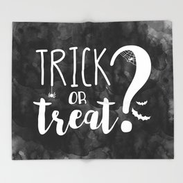 Trick Or Treat? | Black And White Throw Blanket