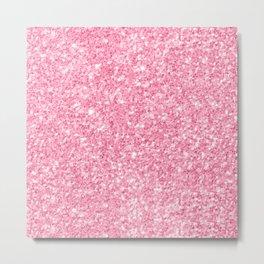 Pink Glitter Texture print Metal Print