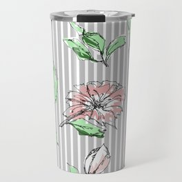 hand drawn flowers, striped Travel Mug