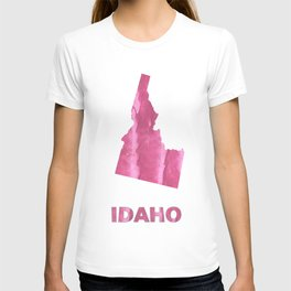 Idaho map outline Pale violet red blurred wash drawing T-shirt
